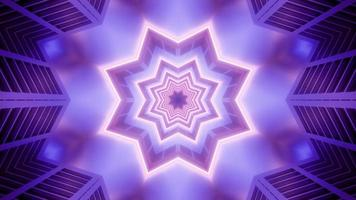 Blue and purple star shape 3d kaleidoscope illustration for background or texture