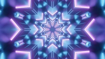 Blue and purple 3d kaleidoscope illustration for background or texture photo