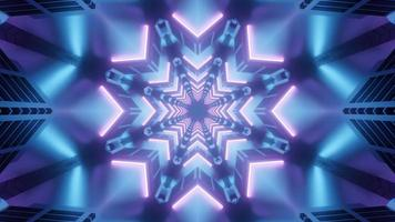 Blue and pink 3D kaleidoscope design illustration for background or texture photo