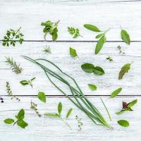 Varias hierbas frescas sobre un fondo de madera blanca foto