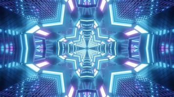Blue, purple, and white 3D kaleidoscope design illustration for background or texture photo