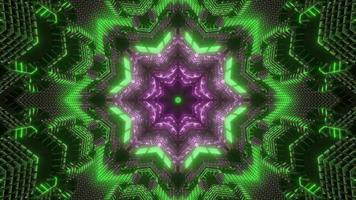 Green and purple 3D kaleidoscope design illustration for background or texture