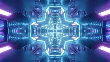 Ilustración de diseño de caleidoscopio 3d azul y púrpura para fondo o textura foto