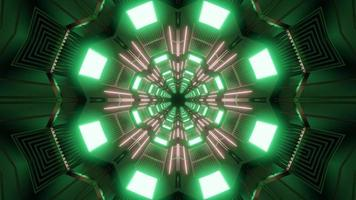 Green and gray 3D kaleidoscope design illustration for background or texture photo