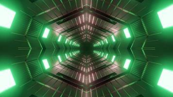Ilustración de diseño de caleidoscopio 3d verde, rojo y gris para fondo o textura foto