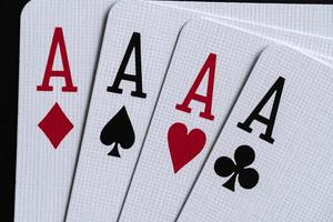 Four aces in close up view photo