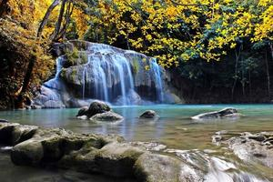 Scene of yellow leaves and body of water at Erawan Falls in Thailand