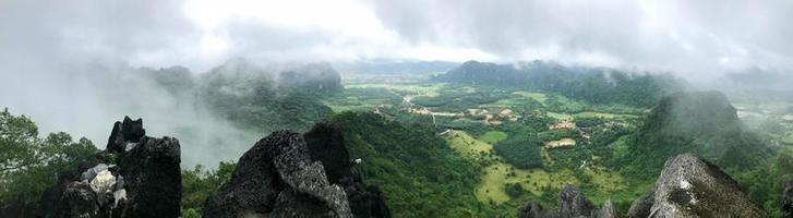 Aerial panorama of green landscape in Vang Vieng in Laos photo
