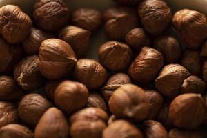 Close up view of hazelnut kernels