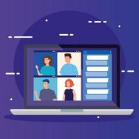 people in a video conference via laptop vector