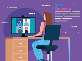mujer en una videoconferencia a través de computadora vector