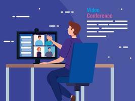 hombre en una videoconferencia a través de la computadora vector