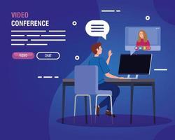 pareja en una videoconferencia a través de la computadora vector