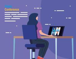 mujer en una videoconferencia a través de una computadora portátil vector