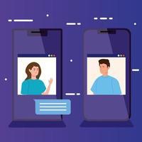 personas en una videoconferencia a través de un teléfono inteligente vector