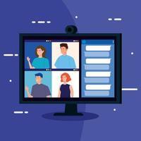 personas en una videoconferencia a través de la computadora vector