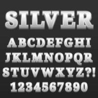 Letter Alphabet With Numbers Silver Glossy Style Design vector
