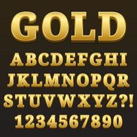 Letter Alphabet With Numbers Gold Glossy Style Design vector