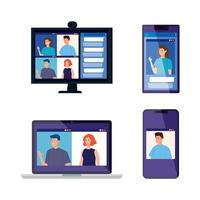 set of electronic devices with people in video conferences vector