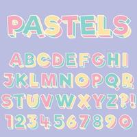 Letter Alphabet With Numbers Pastels Color Pop Art Style Design vector