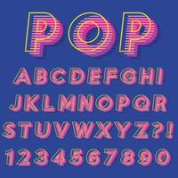 Letra del alfabeto con números de diseño moderno y futurista. vector