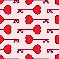 llave del corazón. patrón sin costuras de san valentín vector