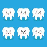 Cute Tooth with Various Expressions Set vector