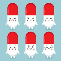 Cute Pill Characters With Various Expression vector