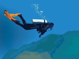 Scuba Diving on illustration graphic vector