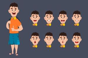 Cute School Boy Character expressions for animation and motion design vector