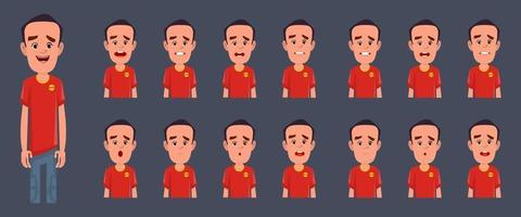 Boy character with different emotions and expressions for animation and motion design vector
