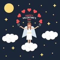 chica en la nube. corazón amor ilustración del día de san valentín vector