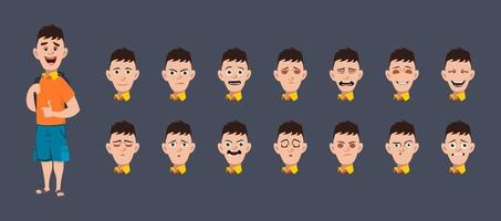 School boy with different expressions for animation and motion design vector
