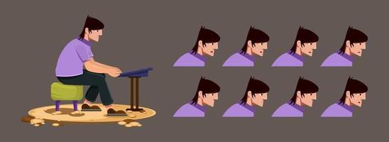 Musician sitting in chair and playing keyboard vector