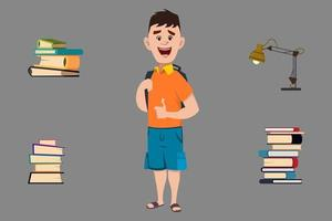 school boy with book and table light for animation vector