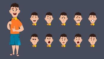 Cute School boy Character expression sheet for animation and motion design vector