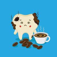lindos personajes de dientes se sienten mal con manchas de café vector