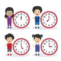 stock vector reloj con carácter infantil