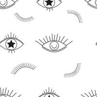 Evil eyes outline seamless pattern vector