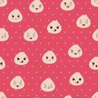 Cute or kawaii dumpling seamless pattern vector