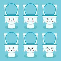 Cute Toilet Bowl with Various Expression Set