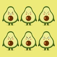 Cute Avocado with Various Expression Set vector