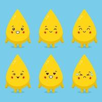 Cute Oil Characters With Various Expression vector