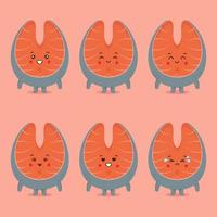 Cute Salmon with Various Expression Set vector