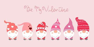 Valentine's day background with cute gnomes and 'Be My Valentine' hand-drawn word. vector