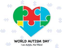 día mundial del autismo con vector de rompecabezas de corazón