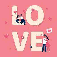 Valentine's day background with romantic couple and word 'LOVE' vector