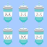 Cute Soda Drinks with Various Expression Set vector