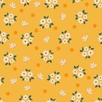 flor de primavera dibujada a mano sobre fondo amarillo de patrones sin fisuras vector