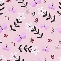 Spring seamless pattern with phlox and butterfly vector